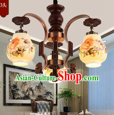 Traditional Chinese Handmade Painting Peony Lantern Three-Lights Palace Lantern Ancient Ceiling Lanterns