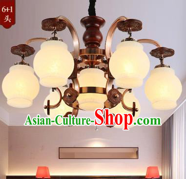 Traditional Chinese Handmade Wood Lantern Seven-Lights Palace Lantern Ancient Ceiling Lanterns