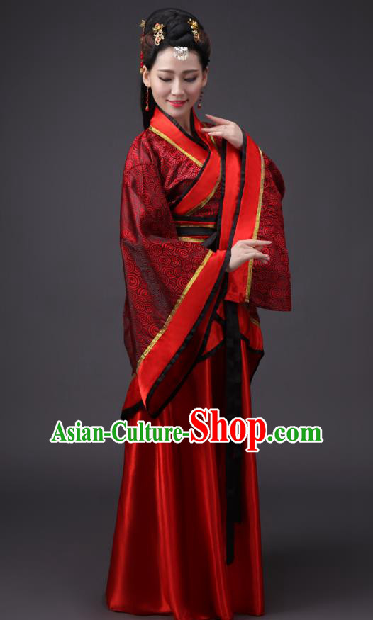 Chinese Han Dynasty Princess Wedding Costume Ancient Hanfu Embroidered Curving-front Robe for Women