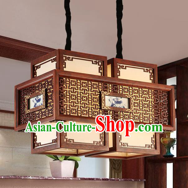 Traditional Chinese Handmade Painted Ceiling Lantern Two-Pieces Carving Palace Lanterns Ancient Lamp