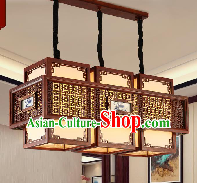 Traditional Chinese Handmade Painted Ceiling Lantern Three-Pieces Carving Palace Lanterns Ancient Lamp