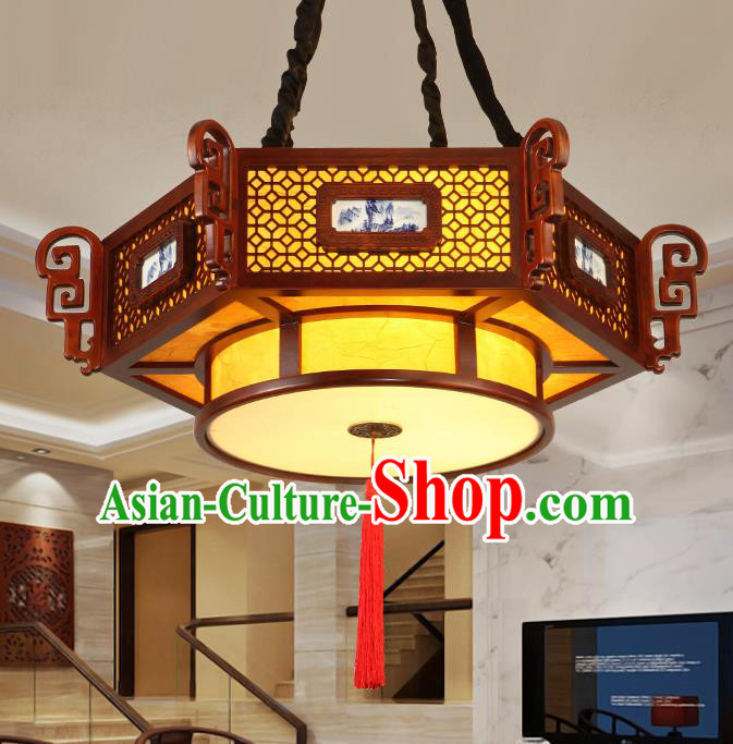 Traditional Chinese Handmade Painted Ceiling Lantern Carving Hanging Palace Lanterns Ancient Lamp