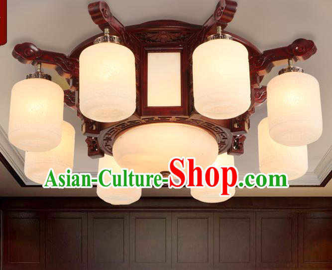 Traditional Chinese Handmade Eight-Lights Ceiling Lantern Rosewood Marble Palace Lanterns Ancient Lamp