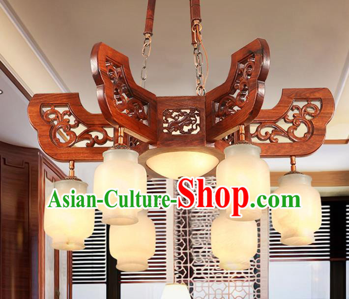 Traditional Chinese Handmade Wood Marble Ceiling Lantern Six-Lights Palace Lanterns Ancient Lamp