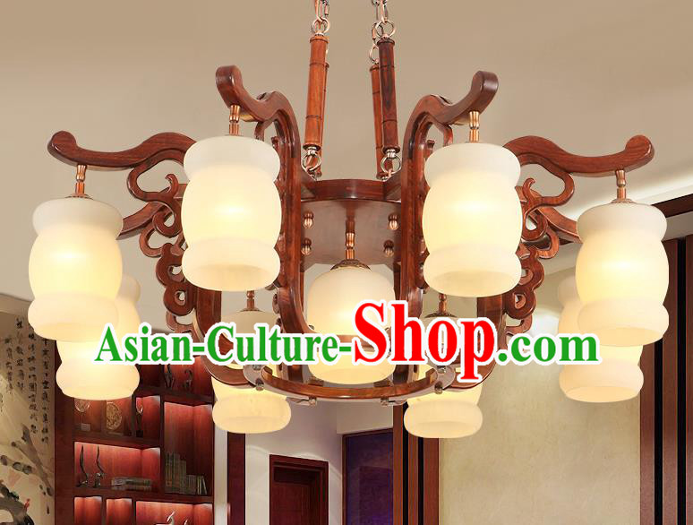 Traditional Chinese Handmade Rosewood Marble Ceiling Lantern Nine-Lights Palace Lanterns Ancient Lamp