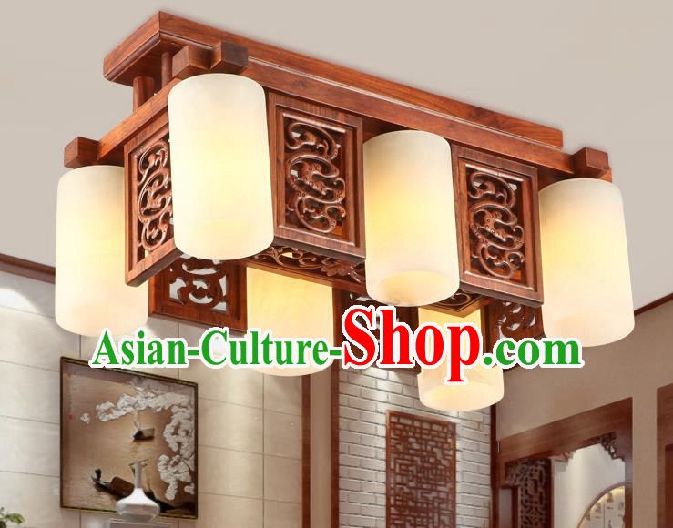 Traditional Chinese Handmade Marble Ceiling Lantern Wood Carving Six-Lights Palace Lanterns Ancient Lamp