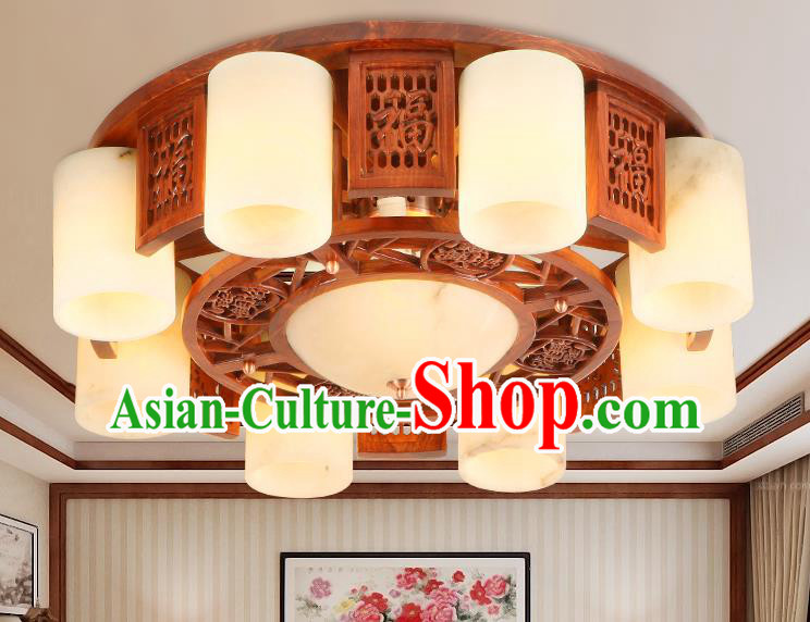 Traditional Chinese Handmade Marble Ceiling Lantern Wood Carving Eight-Pieces Palace Lanterns Ancient Lamp