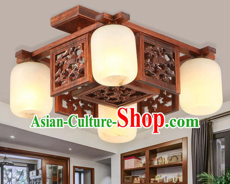 Traditional Chinese Handmade Marble Ceiling Lantern Wood Carving Four-Pieces Palace Lanterns Ancient Lamp