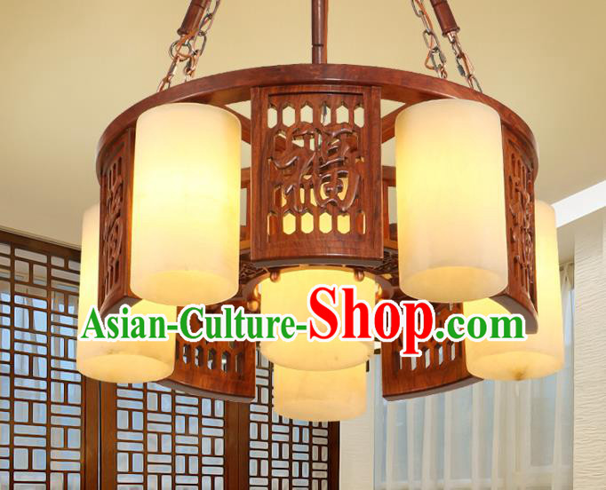 Traditional Chinese Handmade Marble Ceiling Lantern Wood Carving Six-Pieces Palace Lanterns Ancient Lamp