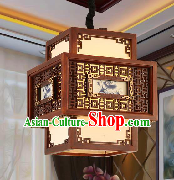 Traditional Chinese Handmade Painted Ceiling Lantern Carving Palace Lanterns Ancient Lamp