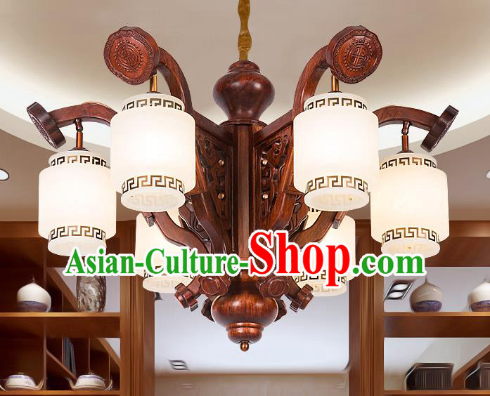 Traditional Chinese Handmade Palace Marble Ceiling Lantern Wood Six-Pieces Lanterns Ancient Lamp