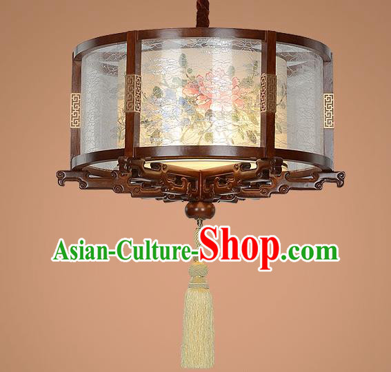 Traditional Chinese Handmade Palace Lantern Wood Hanging Lanterns Ancient Painting Peony Lamp