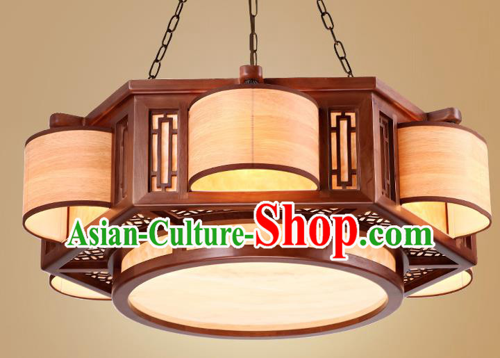 Traditional Chinese Handmade Palace Lantern Wood Six-Lights Ceiling Lanterns Ancient Lamp