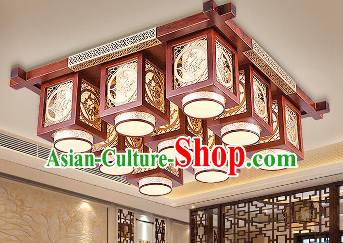 Traditional Chinese Handmade Palace Lantern Wood Carving Plum Blossom Nine-Lights Ceiling Lanterns Ancient Lamp