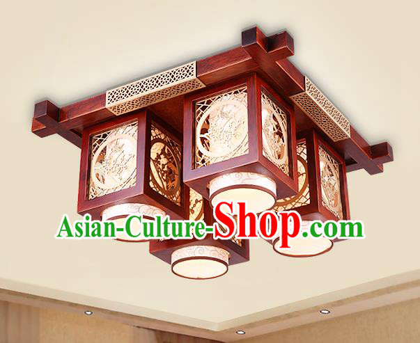 Traditional Chinese Handmade Palace Lantern Wood Carving Plum Blossom Four-Lights Ceiling Lanterns Ancient Lamp