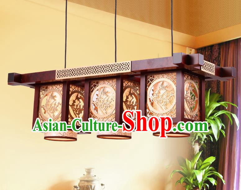 Traditional Chinese Handmade Palace Lantern Wood Carving Plum Blossom Three-Lights Ceiling Lanterns Ancient Lamp