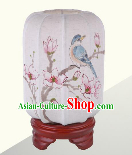 China Handmade Painting Magnolia Birds Desk Lanterns Palace Lantern Ancient Lanterns Traditional Lamp