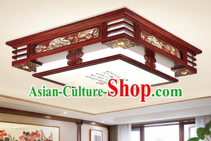 Traditional Chinese Handmade Carving Lantern Palace Square Ceiling Lanterns Ancient Wood Lamp