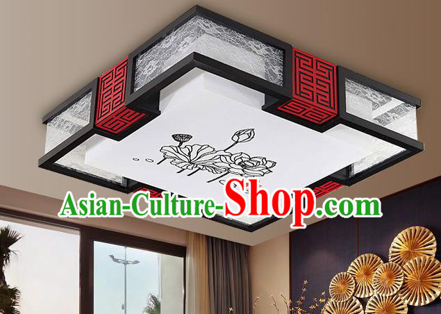 Traditional Chinese Palace Lantern Handmade Painting Lotus Ceiling Lanterns Ancient Lamp