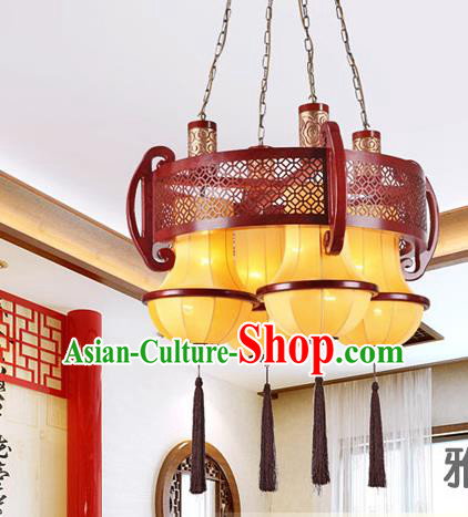 Traditional Chinese Palace Lantern Handmade Four-Lights Hanging Ceiling Lanterns Ancient Lamp