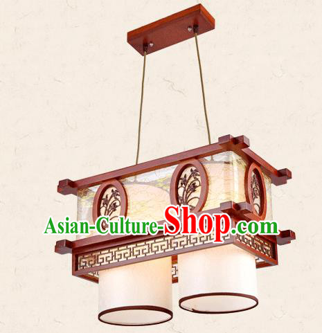 Traditional Chinese Wood Palace Lantern Handmade Carving Orchid Two-Lights Ceiling Lanterns Ancient Lamp