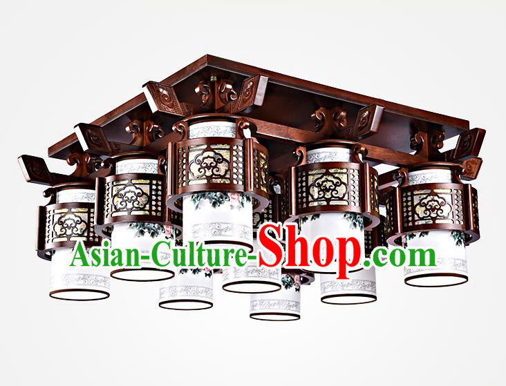 Traditional Chinese Painted Nine-Lights Palace Lantern Handmade Wood Ceiling Lanterns Ancient Lamp
