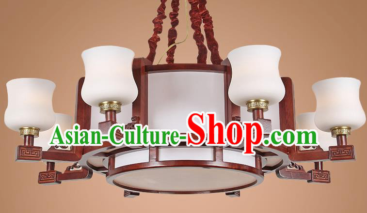 Traditional Chinese Eight-Lights Palace Lantern Handmade Wood Ceiling Lanterns Ancient Lamp