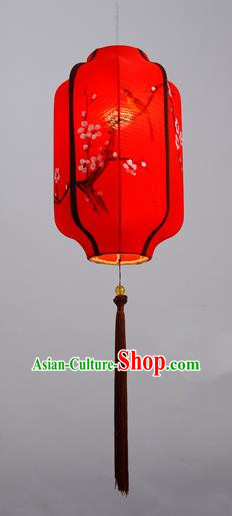 Traditional Chinese Red Palace Lantern Handmade Painting Flowers Birds Ceiling Lanterns Ancient Lamp