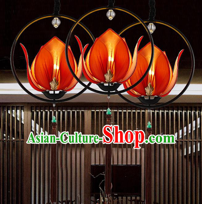 Traditional Chinese Red Lotus Palace Lantern Handmade Ceiling Lanterns Ancient Lamp