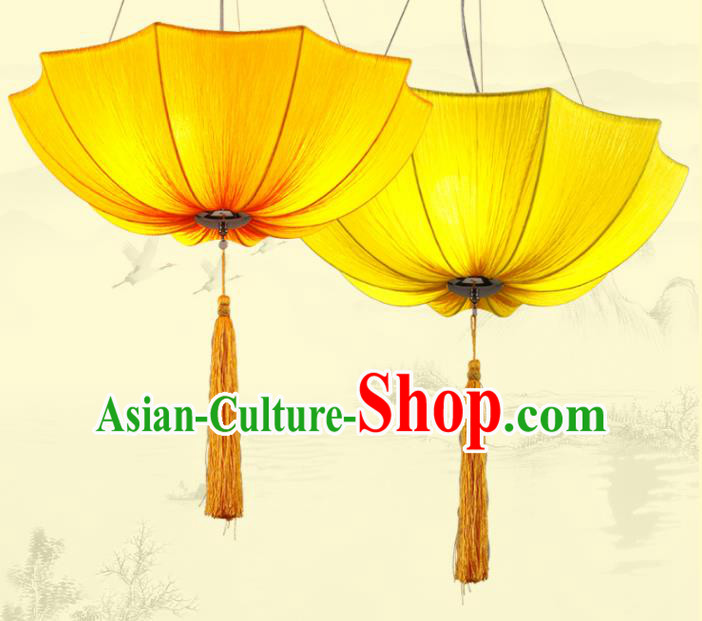 Traditional Chinese Yellow Umbrella Palace Lantern Handmade Ceiling Lanterns Ancient Lamp