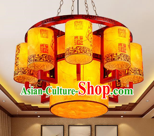 Traditional Chinese Palace Lantern Handmade Wood Ceiling Lanterns Ancient Lamp