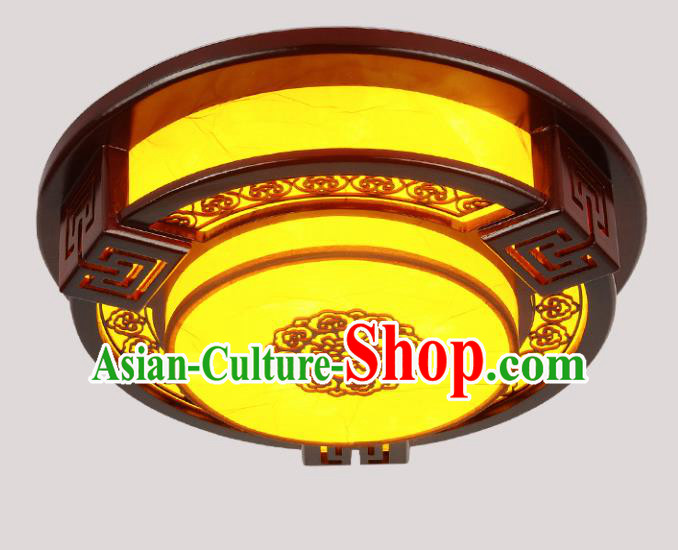 Traditional Chinese Palace Lantern Handmade Wood Round Ceiling Lanterns Ancient Lamp