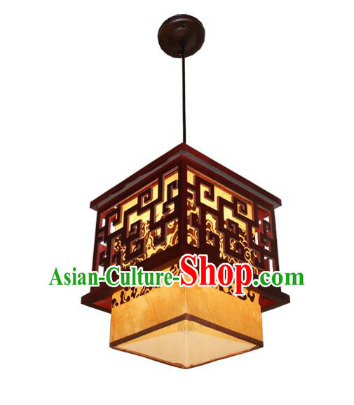 Traditional Chinese Parchment Palace Lantern Handmade Wood Ceiling Lanterns Ancient Lamp