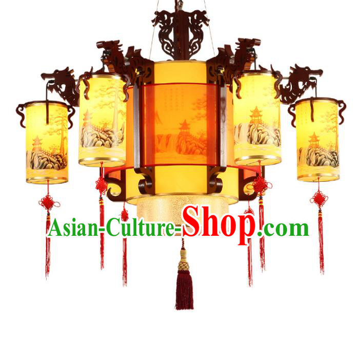 Traditional Chinese Landscape Painting Palace Lantern Handmade Ceiling Lanterns Ancient Lamp