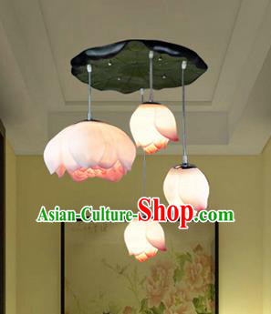 Top Grade Handmade Four-Lights Red Lotus Hanging Lanterns Traditional Chinese Ceiling Palace Lantern Ancient Lanterns