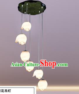 Top Grade Handmade Six-Lights Lotus Hanging Lanterns Traditional Chinese Ceiling Palace Lantern Ancient Lanterns
