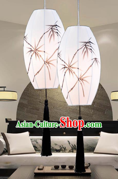 Top Grade Handmade Ink Painting Bamboo Lanterns Traditional Chinese Ceiling Palace Lantern Ancient Lanterns