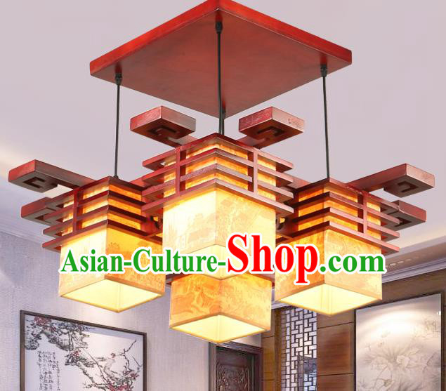 Top Grade Handmade Four-Lights Palace Lanterns Traditional Chinese Lantern Ancient Ceiling Lanterns