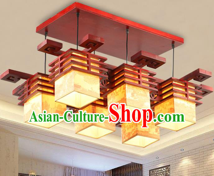 Top Grade Handmade Six-Lights Palace Lanterns Traditional Chinese Lantern Ancient Ceiling Lanterns