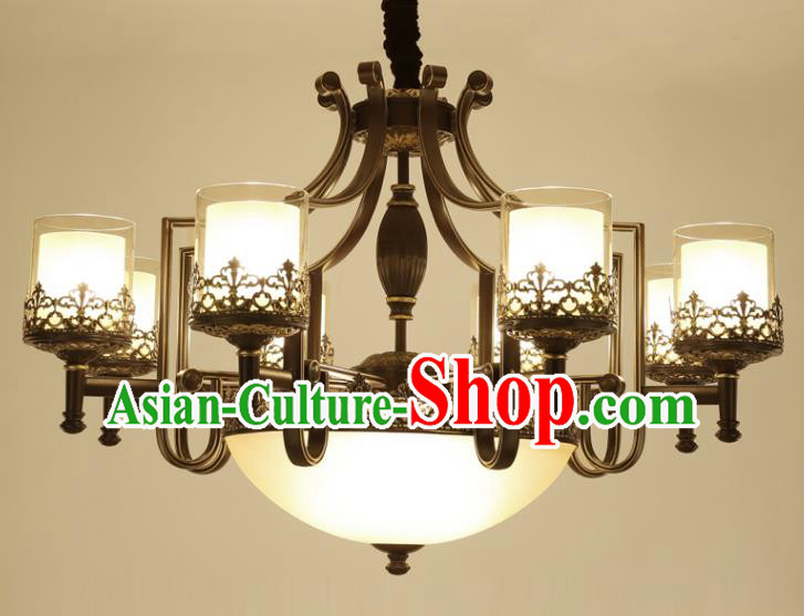China Handmade Eight-Lights Ceiling Lanterns Traditional Chinese Iron Palace Lantern Ancient Lanterns