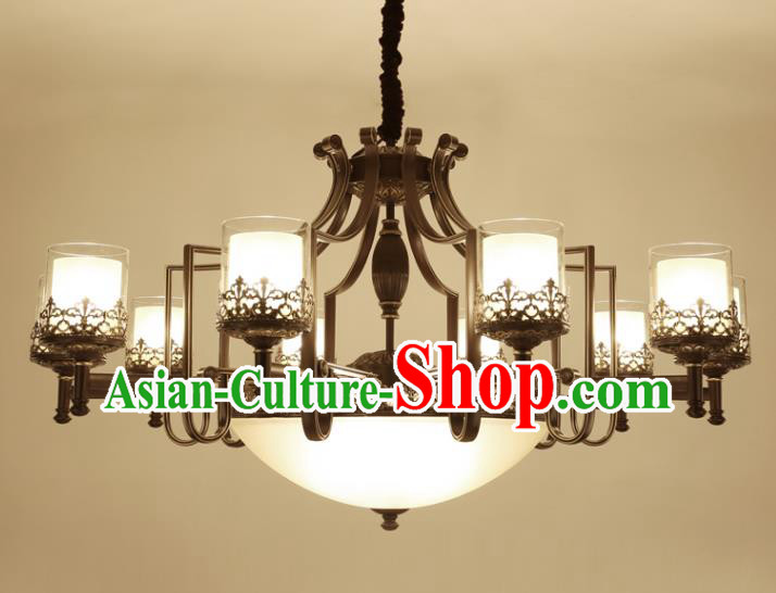 China Handmade Nine-Lights Ceiling Lanterns Traditional Chinese Iron Palace Lantern Ancient Lanterns
