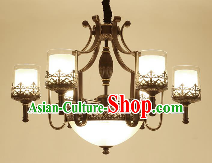 China Handmade Six-Lights Ceiling Lanterns Traditional Chinese Iron Palace Lantern Ancient Lanterns