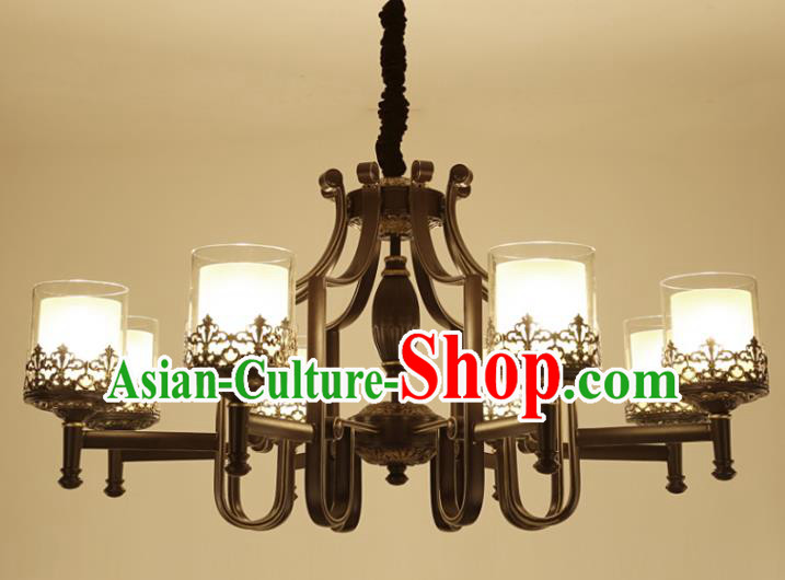 China Handmade Eight-Lights Iron Ceiling Lanterns Traditional Chinese Palace Lantern Ancient Lanterns