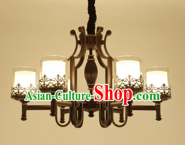 China Handmade Six-Lights Iron Ceiling Lanterns Traditional Chinese Palace Lantern Ancient Lanterns