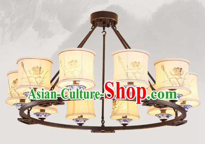 China Handmade Ten-Lights Ceiling Lanterns Traditional Chinese Painting Lotus Palace Lantern Ancient Lanterns