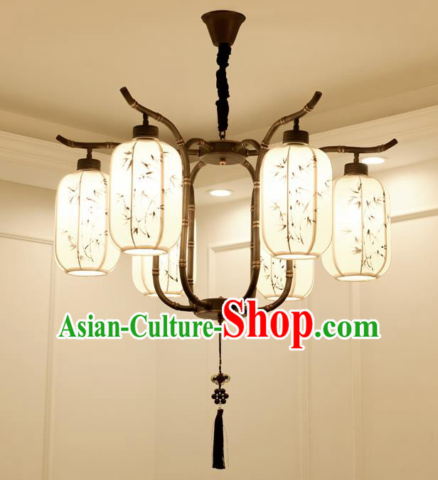 China Handmade Six-Lights Ceiling Lanterns Traditional Chinese Painted Bamboo Palace Lantern Ancient Lanterns