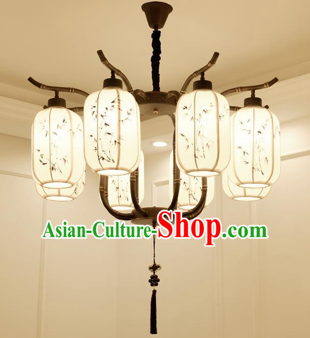 China Handmade Eight-Lights Ceiling Lanterns Traditional Chinese Painted Bamboo Palace Lantern Ancient Lanterns