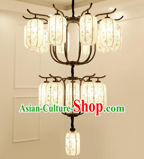 China Handmade Sixteen-Lights Ceiling Lanterns Traditional Chinese Painted Bamboo Palace Lantern Ancient Lanterns
