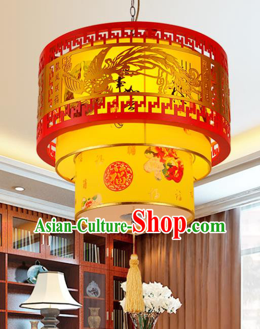 Top Grade Handmade Carving Phoenix Lanterns Traditional Chinese Palace Lantern Ancient Ceiling Lanterns