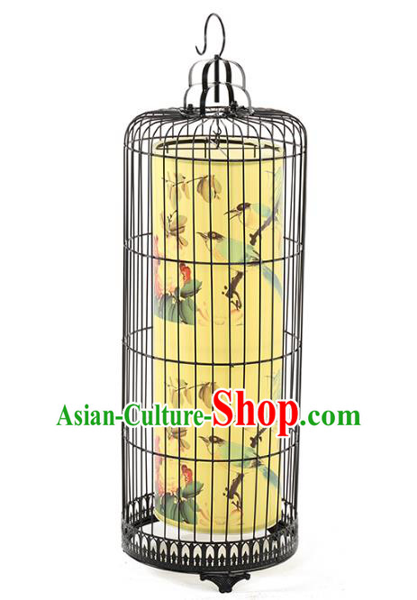 Top Grade Handmade New Year Lanterns Traditional Chinese Iron Painting Flowers Palace Lantern Ancient Ceiling Lanterns